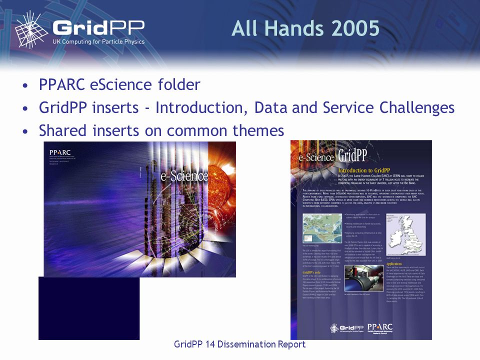 GridPP 14 Dissemination Report All Hands 2005 PPARC eScience folder GridPP inserts - Introduction, Data and Service Challenges Shared inserts on common themes