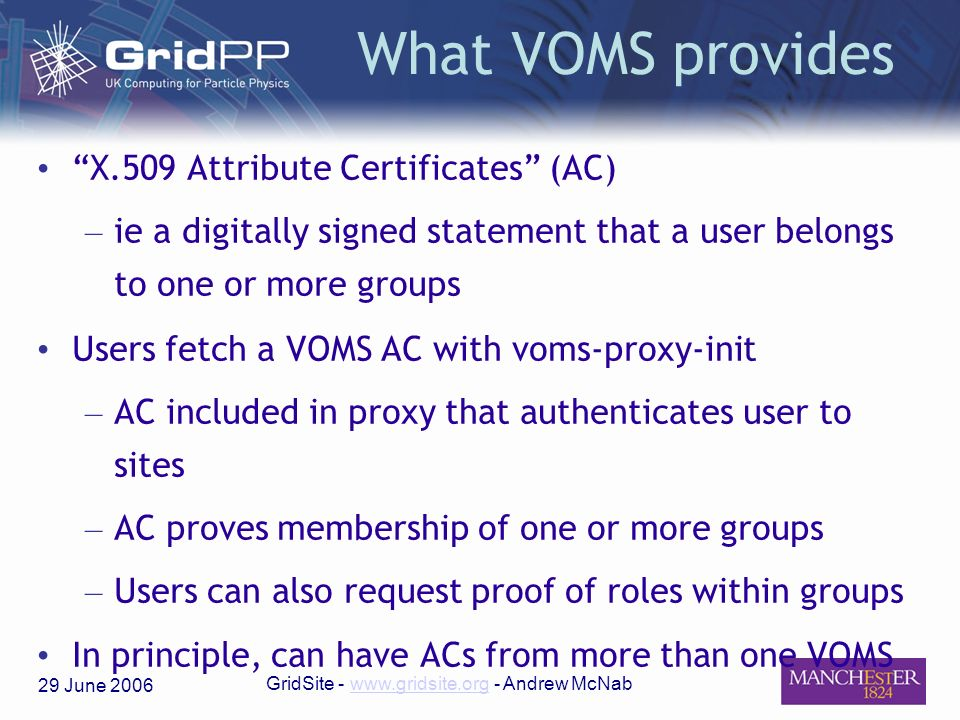 29 June 2006 GridSite - www.gridsite.org - Andrew McNabwww.gridsite.org What VOMS provides X.509 Attribute Certificates (AC) – ie a digitally signed s