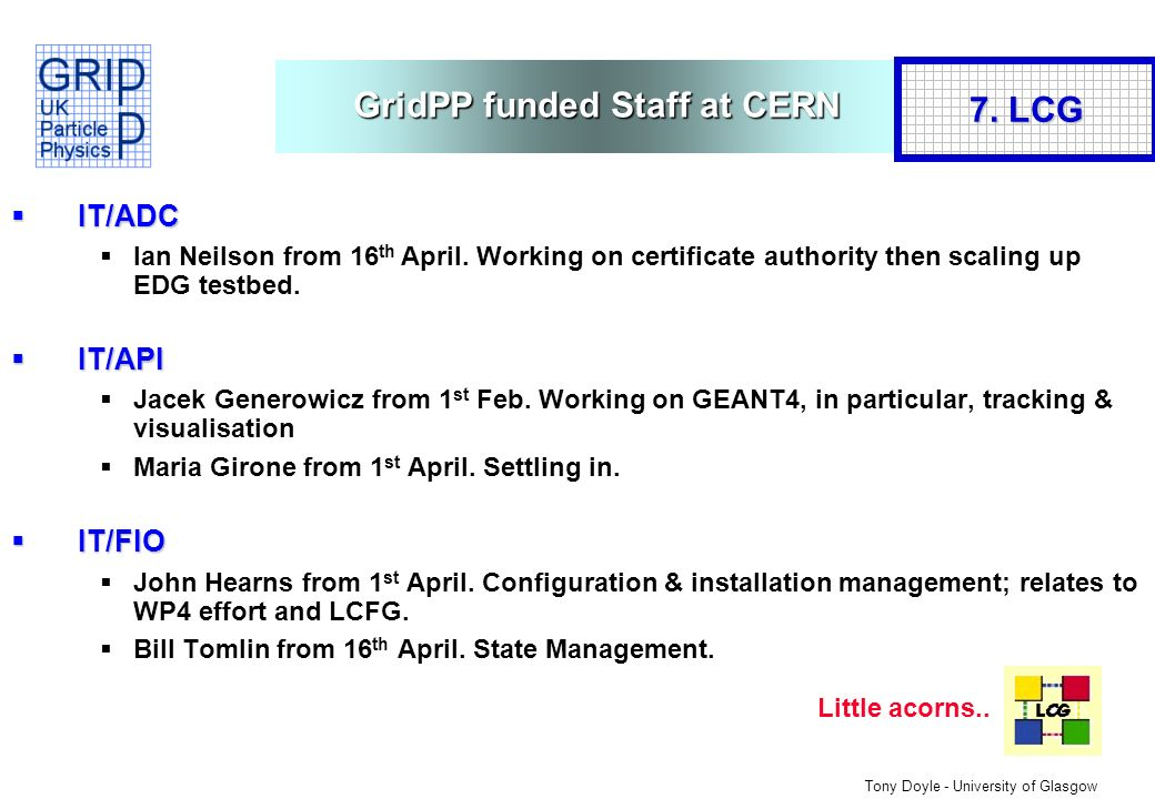 Tony Doyle - University of Glasgow GridPP funded Staff at CERN IT/ADC IT/ADC Ian Neilson from 16 th April.
