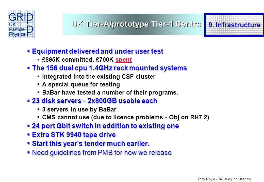 Tony Doyle - University of Glasgow UK Tier-A/prototype Tier-1 Centre Equipment delivered and under user test Equipment delivered and under user test £895K committed, £700K spentspent The 156 dual cpu 1.4GHz rack mounted systems The 156 dual cpu 1.4GHz rack mounted systems integrated into the existing CSF cluster A special queue for testing BaBar have tested a number of their programs.