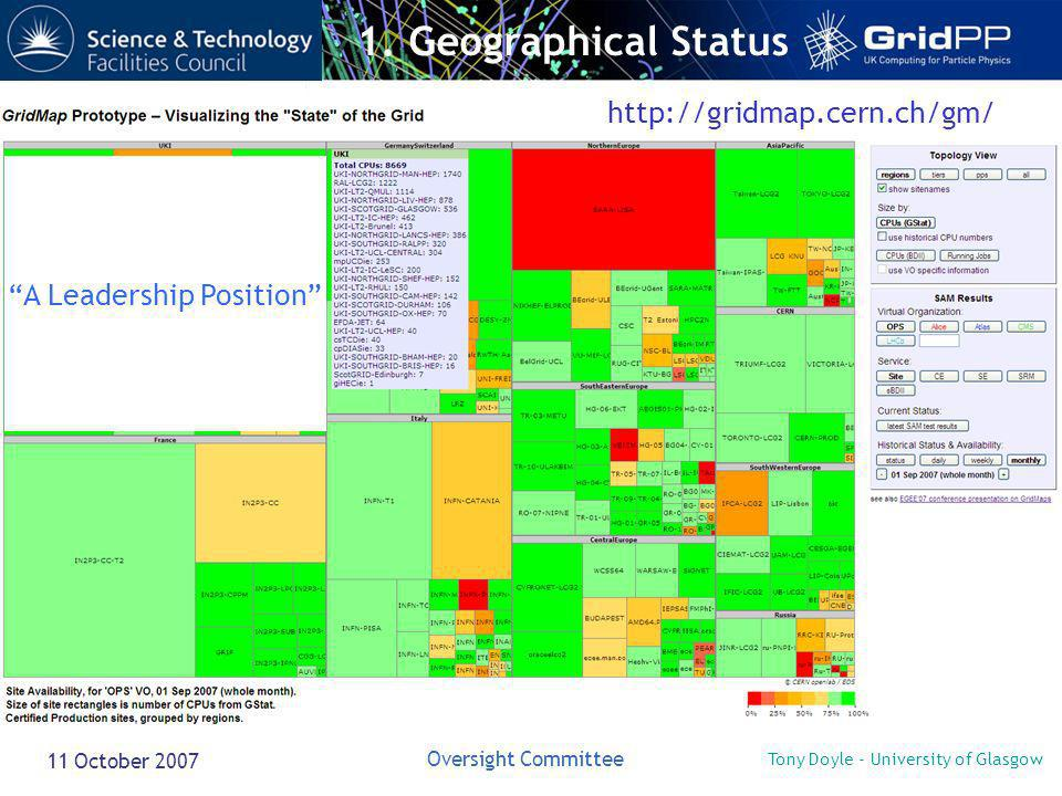 Tony Doyle - University of Glasgow Oversight Committee 11 October 2007 1. Geographical Status http://gridmap.cern.ch/gm/ A Leadership Position