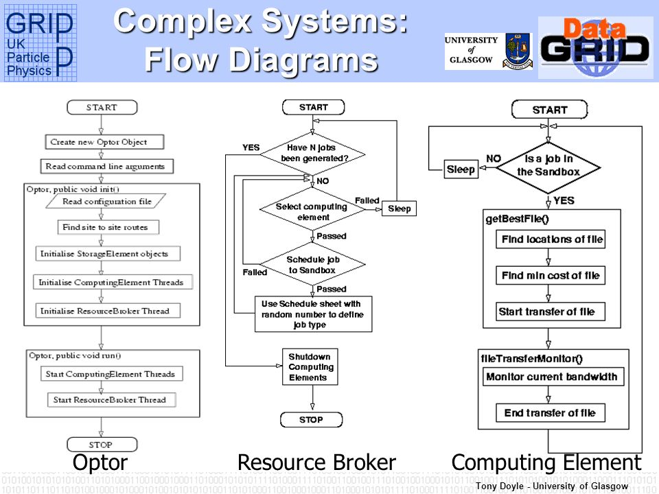 Tony Doyle - University of Glasgow Complex Systems: Flow Diagrams OptorResource BrokerComputing Element