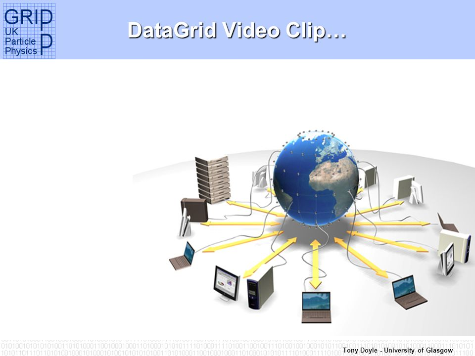 Tony Doyle - University of Glasgow Grid Data Management: Requirements 1.Robust - software development infrastructure 2.Secure – via Grid certificates 3.Scalable – non-centralised 4.Efficient – Optimised replication Examples: GDMPSpitfireReptorOptor