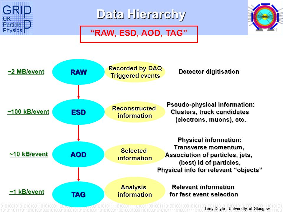 Tony Doyle - University of Glasgow Data Hierarchy RAW, ESD, AOD, TAG RAW Recorded by DAQ Triggered events Detector digitisation ~2 MB/event ESD Pseudo-physical information: Clusters, track candidates (electrons, muons), etc.
