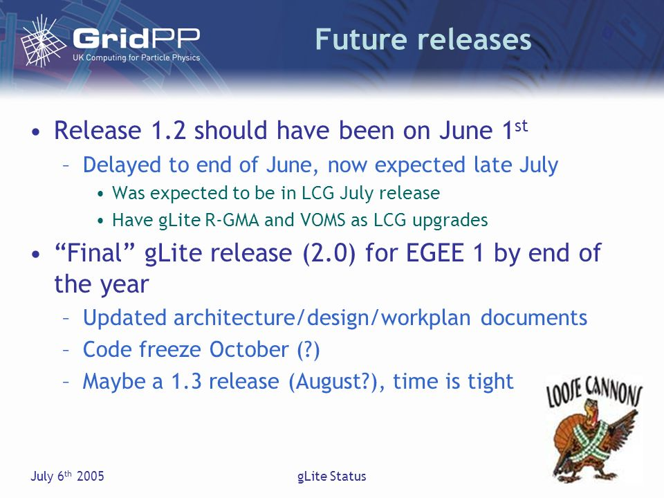 July 6 th 2005gLite Status Future releases Release 1.2 should have been on June 1 st –Delayed to end of June, now expected late July Was expected to be in LCG July release Have gLite R-GMA and VOMS as LCG upgrades Final gLite release (2.0) for EGEE 1 by end of the year –Updated architecture/design/workplan documents –Code freeze October ( ) –Maybe a 1.3 release (August ), time is tight