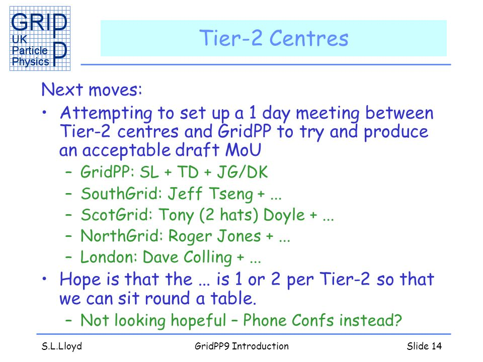 S.L.LloydGridPP9 IntroductionSlide 14 Tier-2 Centres Next moves: Attempting to set up a 1 day meeting between Tier-2 centres and GridPP to try and produce an acceptable draft MoU –GridPP: SL + TD + JG/DK –SouthGrid: Jeff Tseng +...