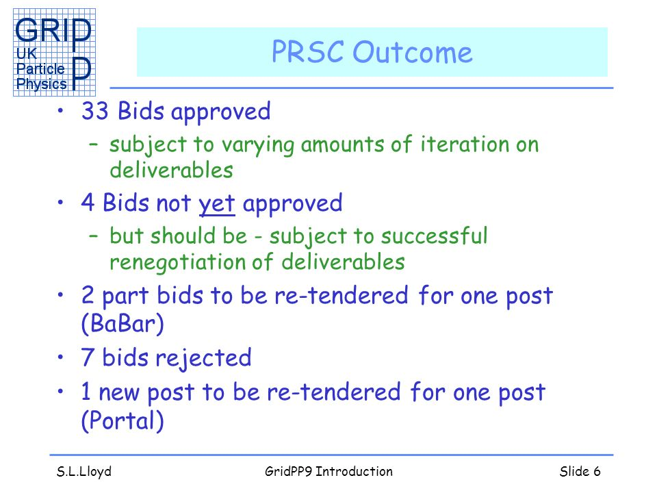 S.L.LloydGridPP9 IntroductionSlide 6 PRSC Outcome 33 Bids approved –subject to varying amounts of iteration on deliverables 4 Bids not yet approved –but should be - subject to successful renegotiation of deliverables 2 part bids to be re-tendered for one post (BaBar) 7 bids rejected 1 new post to be re-tendered for one post (Portal)