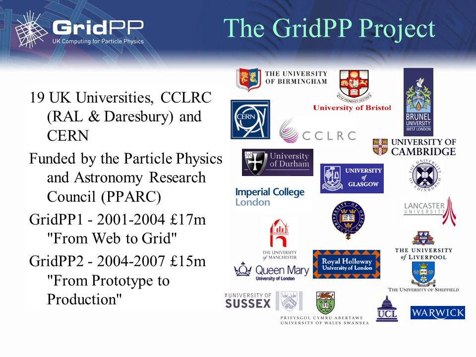 The GridPP Project 19 UK Universities, CCLRC (RAL & Daresbury) and CERN Funded by the Particle Physics and Astronomy Research Council (PPARC) GridPP £17m From Web to Grid GridPP £15m From Prototype to Production