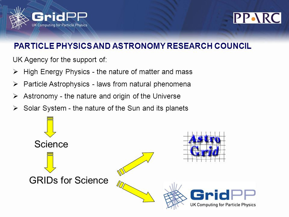 UK Agency for the support of: High Energy Physics - the nature of matter and mass Particle Astrophysics - laws from natural phenomena Astronomy - the