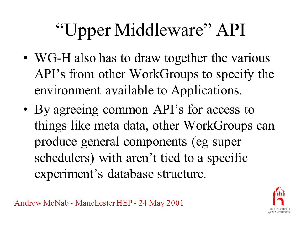 Andrew McNab - Manchester HEP - 24 May 2001 Upper Middleware API WG-H also has to draw together the various APIs from other WorkGroups to specify the environment available to Applications.