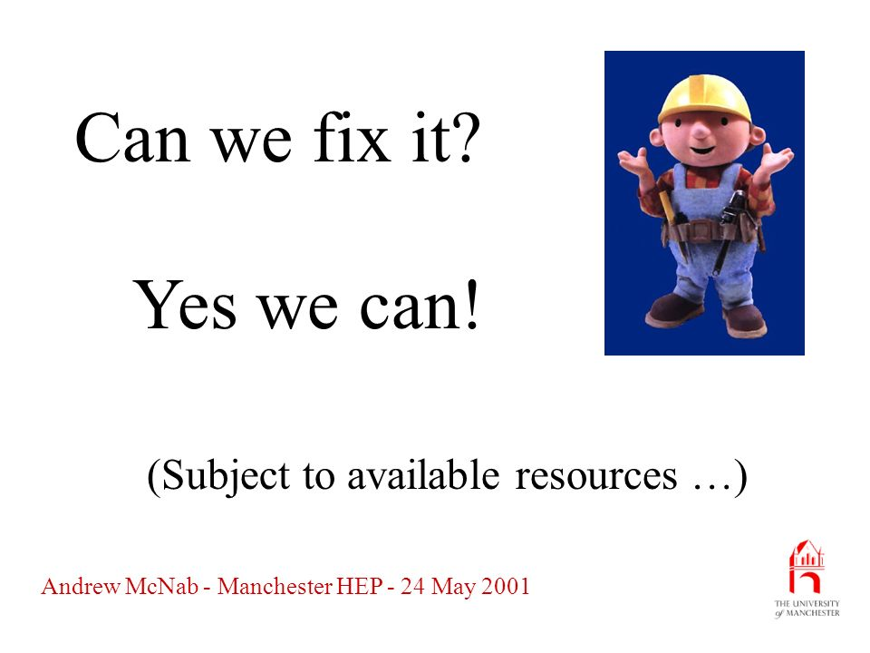 Andrew McNab - Manchester HEP - 24 May 2001 Summary Most of the component activities of WorkGroup H have already been started: –Installation tools (RPMs) –Web site –Mailing lists –Contacts with Globus But documentation, co-ordination of APIs and active support are still just starting.