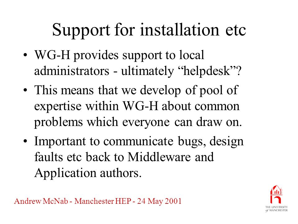 Andrew McNab - Manchester HEP - 24 May 2001 Support for installation etc WG-H provides support to local administrators - ultimately helpdesk.