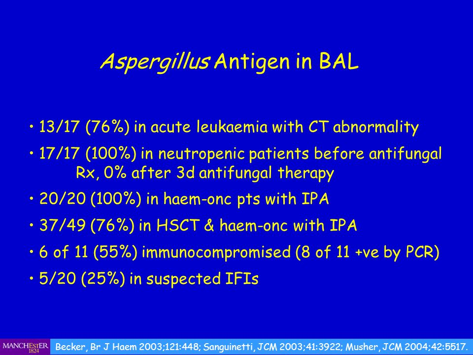 13/17 (76%) in acute leukaemia with CT abnormality 17/17 (100%) in neutropenic patients before antifungal Rx, 0% after 3d antifungal therapy 20/20 (10