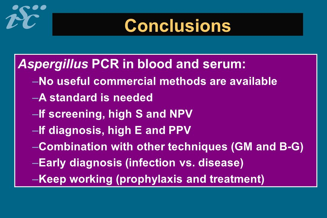 Conclusions Aspergillus PCR in blood and serum: –No useful commercial methods are available –A standard is needed –If screening, high S and NPV –If di