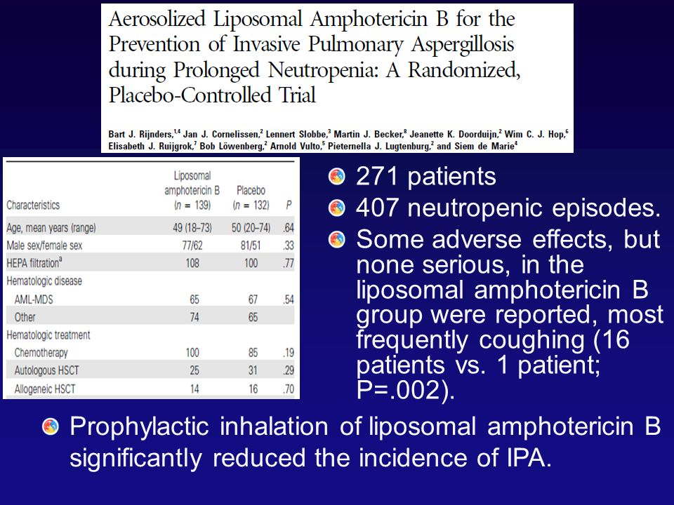 271 patients 407 neutropenic episodes. Some adverse effects, but none serious, in the liposomal amphotericin B group were reported, most frequently co