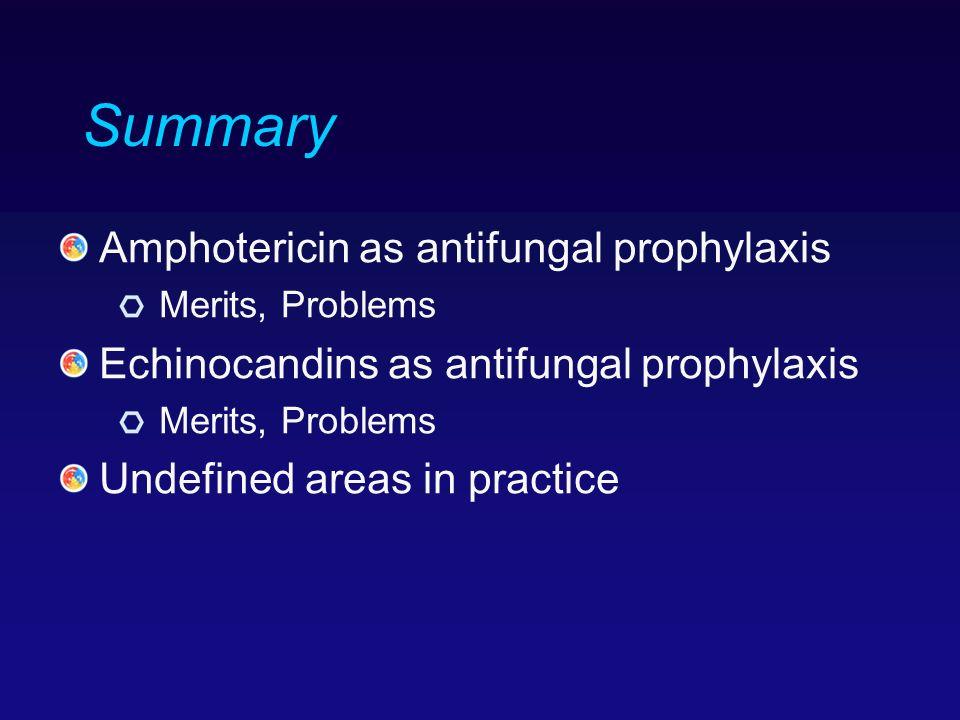 Summary Amphotericin as antifungal prophylaxis Merits, Problems Echinocandins as antifungal prophylaxis Merits, Problems Undefined areas in practice
