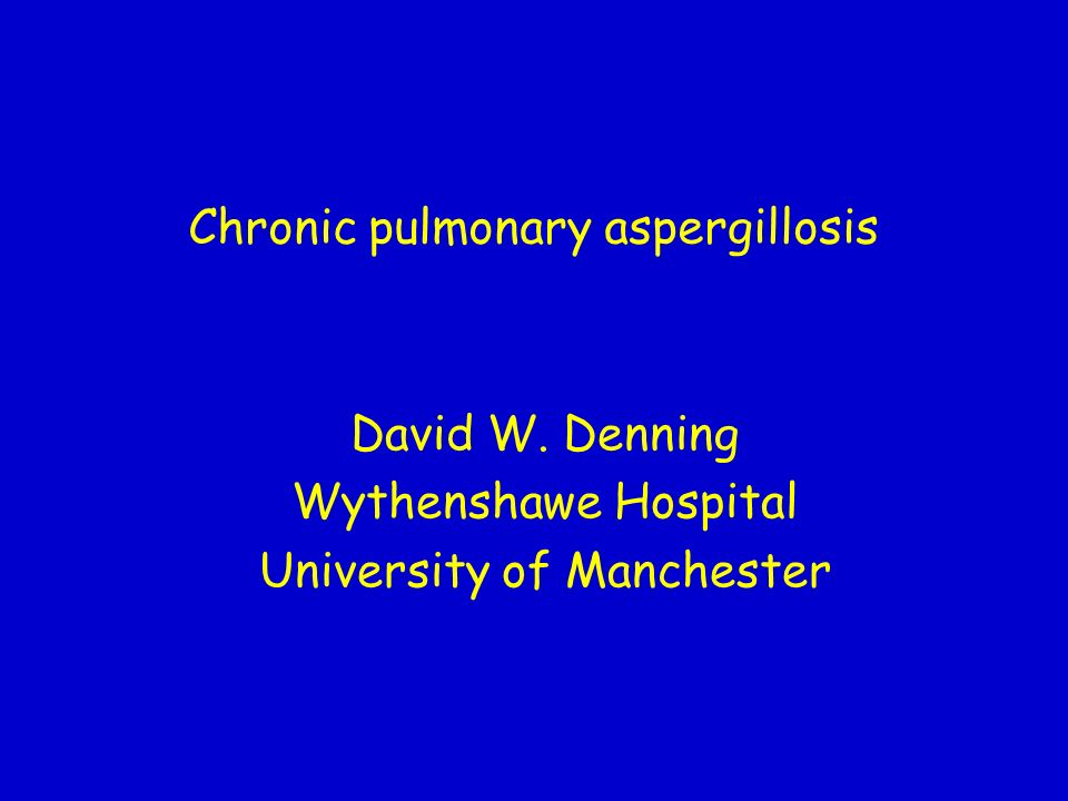 Chronic pulmonary aspergillosis David W. Denning Wythenshawe Hospital University of Manchester