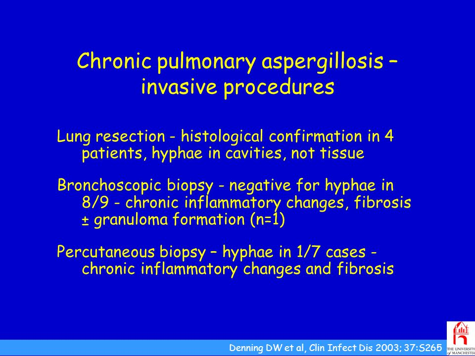 Chronic pulmonary aspergillosis – invasive procedures Lung resection - histological confirmation in 4 patients, hyphae in cavities, not tissue Broncho