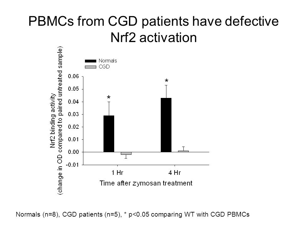 Normals (n=8), CGD patients (n=5), * p<0.05 comparing WT with CGD PBMCs PBMCs from CGD patients have defective Nrf2 activation