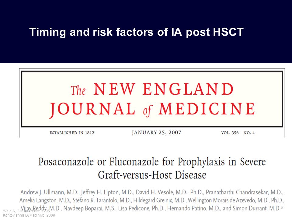 Timing and risk factors of IA post HSCT Wald A, Clin Infect Dis, 1996 Kontoyiannis D, Med Myc, 2008