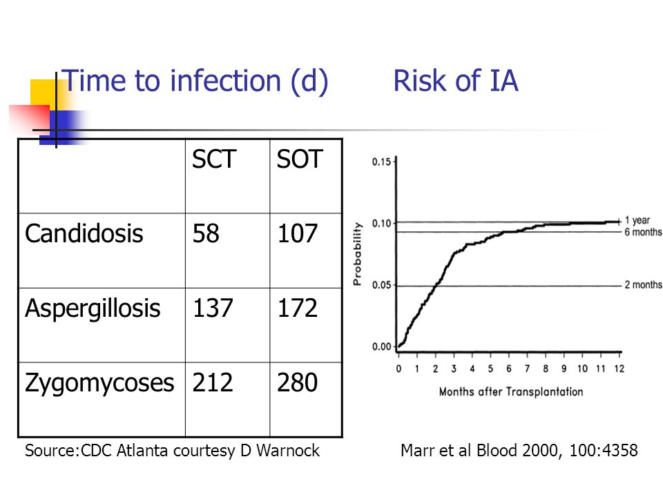 Time to infection (d)Risk of IA SCTSOT Candidosis58107 Aspergillosis137172 Zygomycoses212280 Source:CDC Atlanta courtesy D WarnockMarr et al Blood 2000, 100:4358