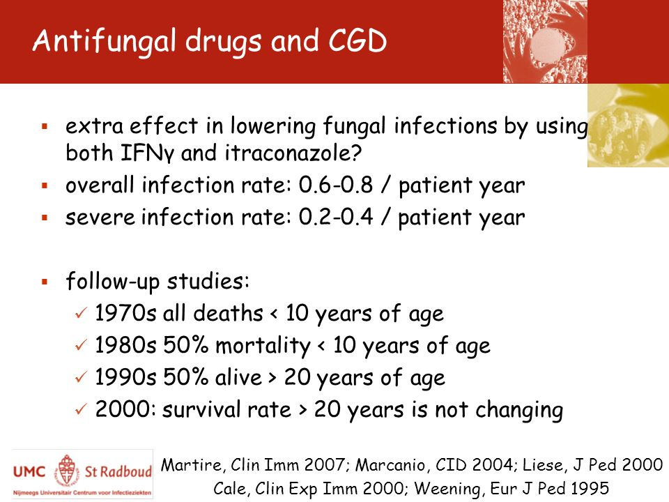 Antifungal drugs and CGD extra effect in lowering fungal infections by using both IFNγ and itraconazole? overall infection rate: 0.6-0.8 / patient yea