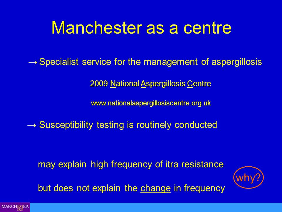 Manchester as a centre Specialist service for the management of aspergillosis 2009 National Aspergillosis Centre www.nationalaspergillosiscentre.org.uk Susceptibility testing is routinely conducted may explain high frequency of itra resistance but does not explain the change in frequency why