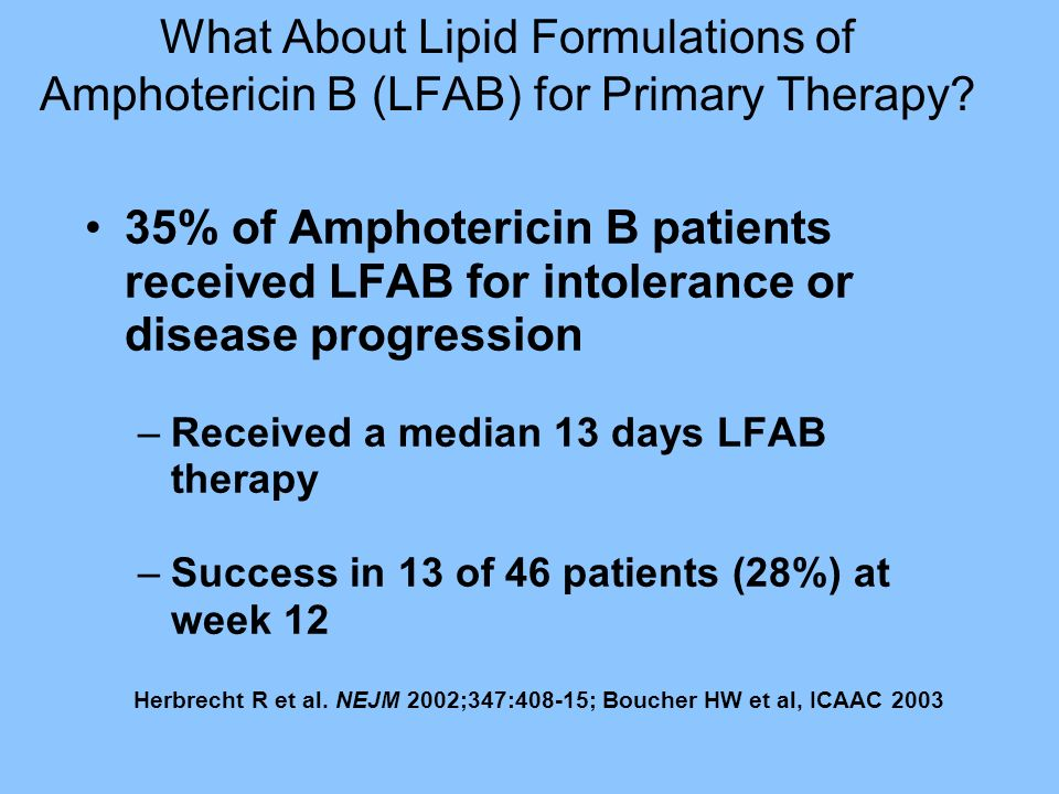 What About Lipid Formulations of Amphotericin B (LFAB) for Primary Therapy? 35% of Amphotericin B patients received LFAB for intolerance or disease pr