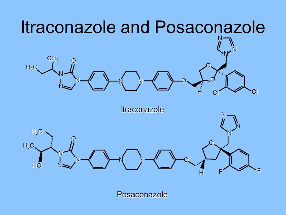 Itraconazole and Posaconazole Posaconazole Itraconazole H3CH3CH3CH3C N N N NN N N N O CH 3 O O O H Cl Cl N H3CH3CH3CH3C N N N NN N N F F H O O HO H3CH
