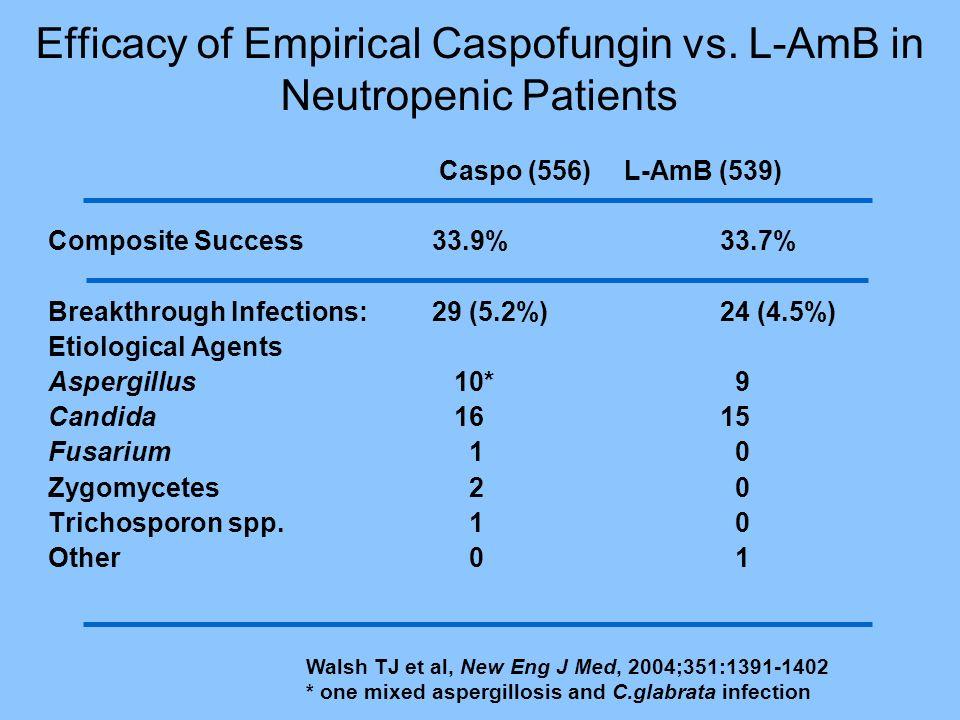 Efficacy of Empirical Caspofungin vs. L-AmB in Neutropenic Patients Caspo (556) L-AmB (539) Composite Success 33.9%33.7% Breakthrough Infections: 29 (