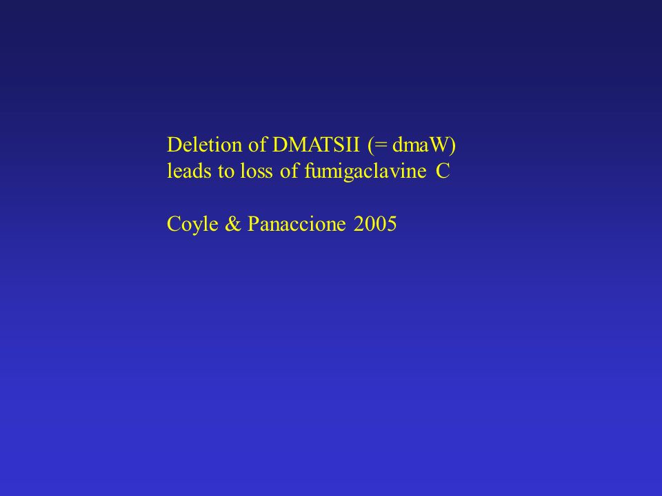 Deletion of DMATSII (= dmaW) leads to loss of fumigaclavine C Coyle & Panaccione 2005