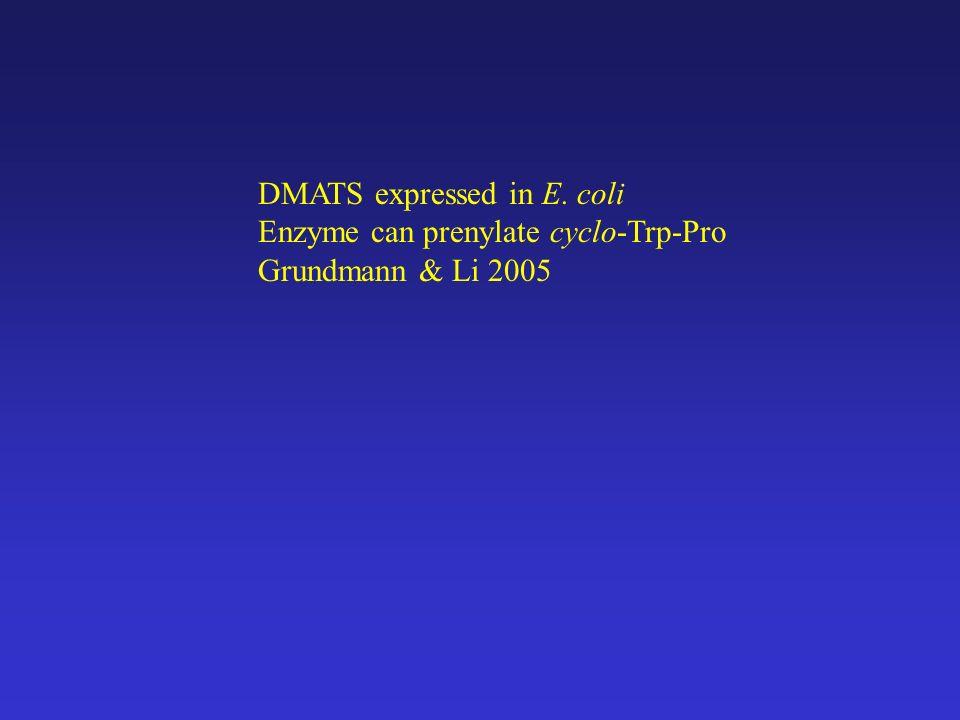 DMATS expressed in E. coli Enzyme can prenylate cyclo-Trp-Pro Grundmann & Li 2005