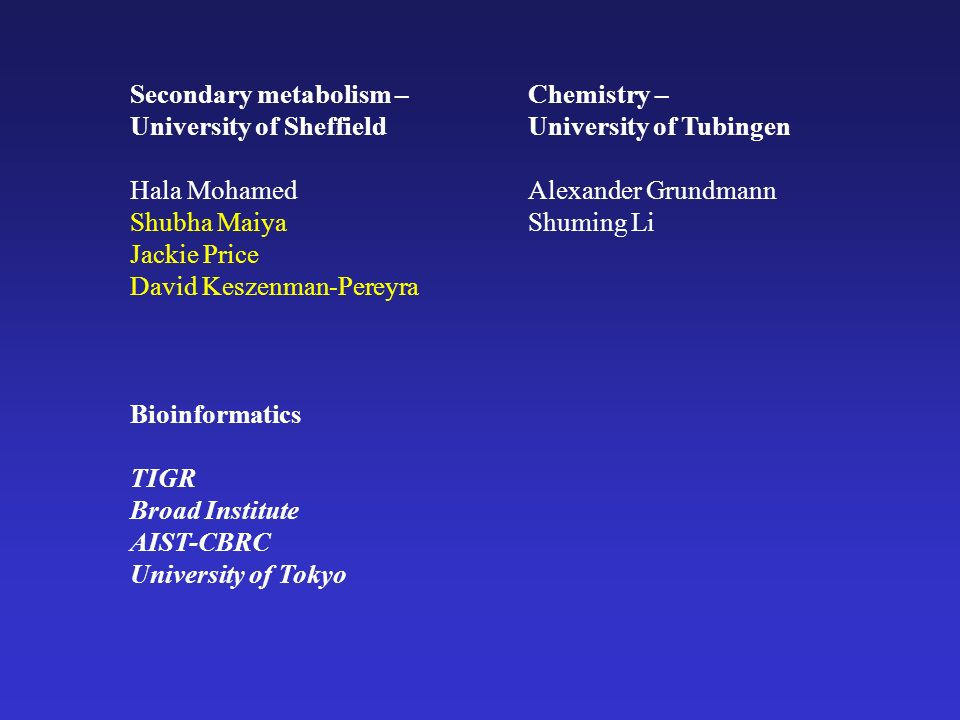 Secondary metabolism – University of Sheffield Hala Mohamed Shubha Maiya Jackie Price David Keszenman-Pereyra Bioinformatics TIGR Broad Institute AIST-CBRC University of Tokyo Chemistry – University of Tubingen Alexander Grundmann Shuming Li