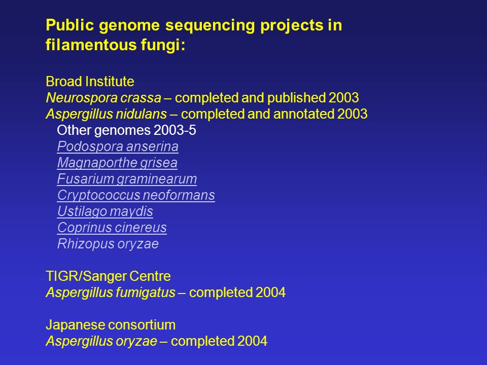 Public genome sequencing projects in filamentous fungi: Broad Institute Neurospora crassa – completed and published 2003 Aspergillus nidulans – comple