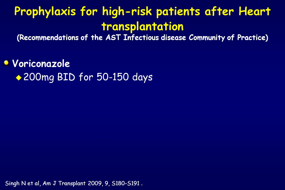 Voriconazole u 200mg BID for 50-150 days Prophylaxis for high-risk patients after Heart transplantation (Recommendations of the AST Infectious disease