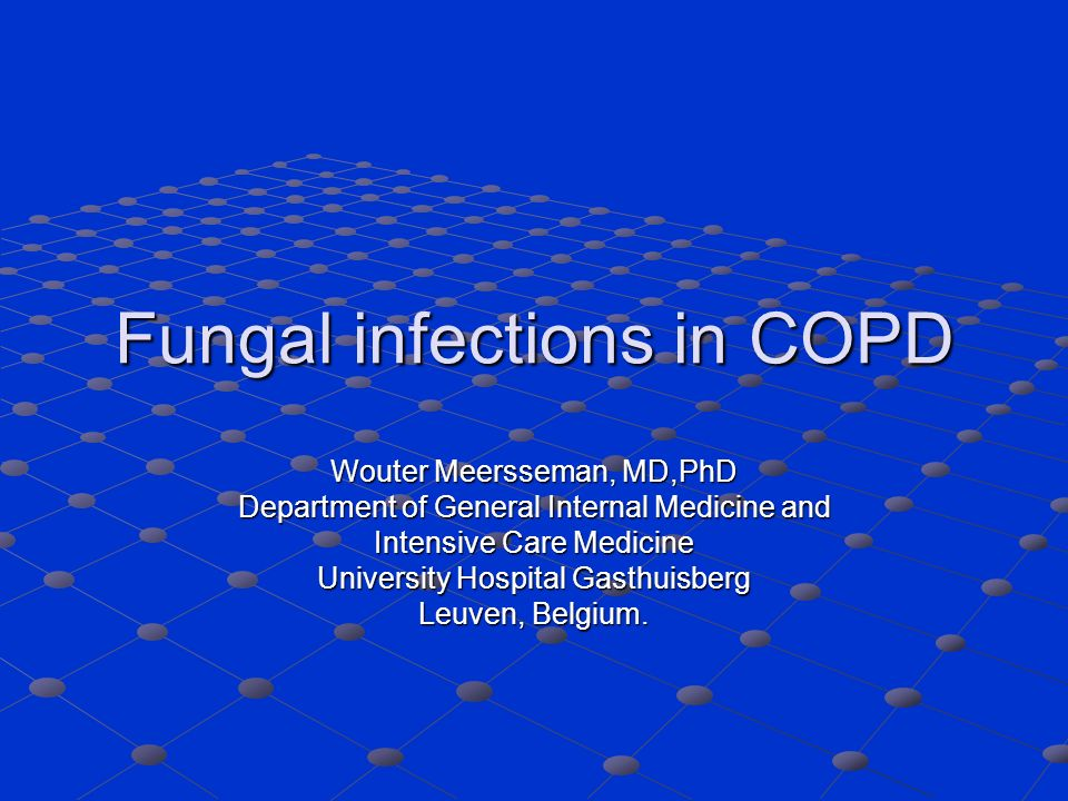 Fungal infections in COPD Wouter Meersseman, MD,PhD Department of General Internal Medicine and Intensive Care Medicine University Hospital Gasthuisberg Leuven, Belgium.
