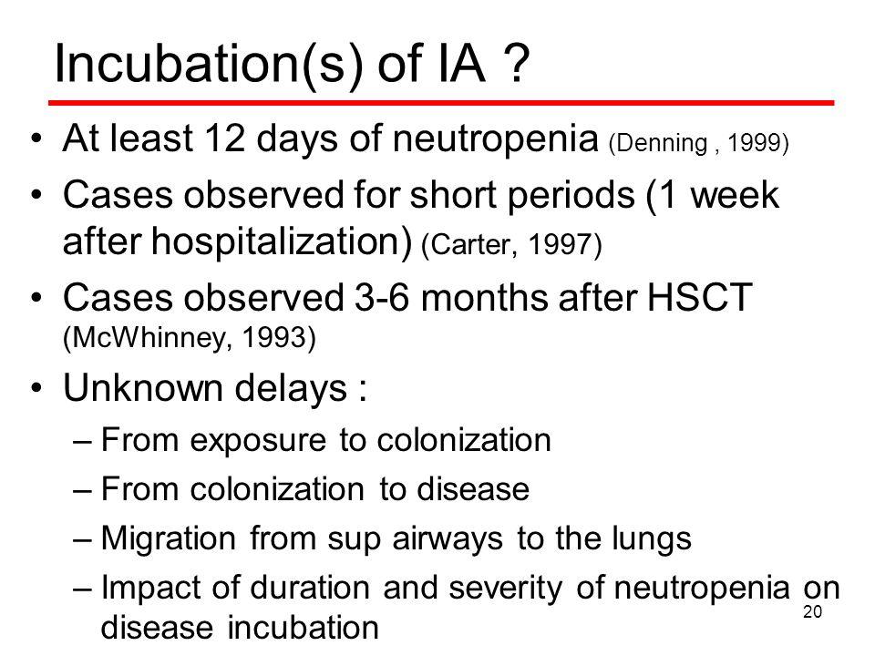 Incubation(s) of IA .