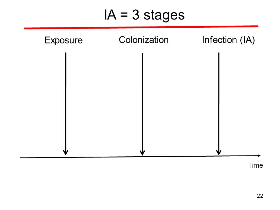 Exposure ColonizationInfection (IA) IA = 3 stages 22 Time