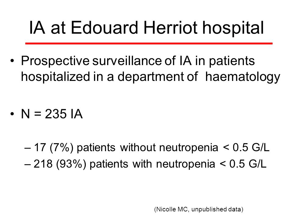 IA at Edouard Herriot hospital Prospective surveillance of IA in patients hospitalized in a department of haematology N = 235 IA –17 (7%) patients without neutropenia < 0.5 G/L –218 (93%) patients with neutropenia < 0.5 G/L (Nicolle MC, unpublished data)