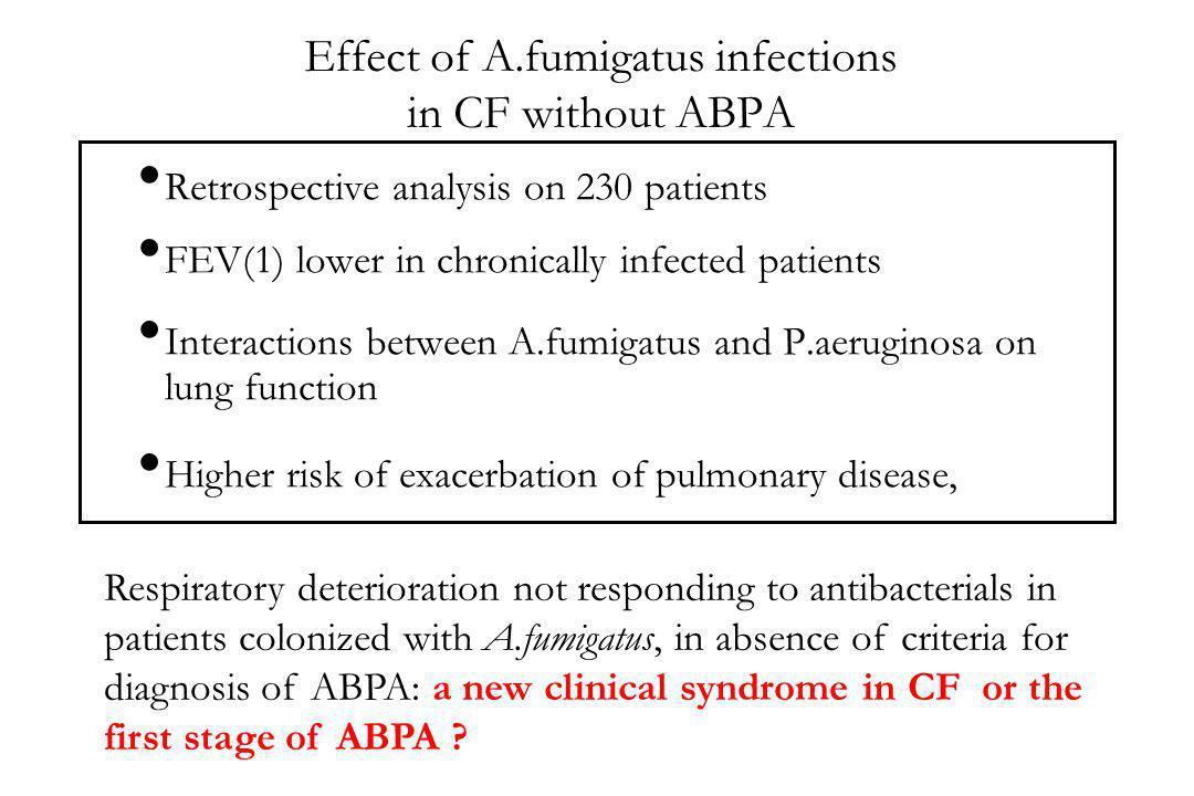 Effect of A.fumigatus infections in CF without ABPA Retrospective analysis on 230 patients FEV(1) lower in chronically infected patients Interactions