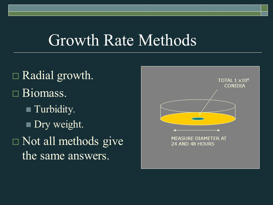 Growth Rate Methods Radial growth. Biomass. Turbidity.