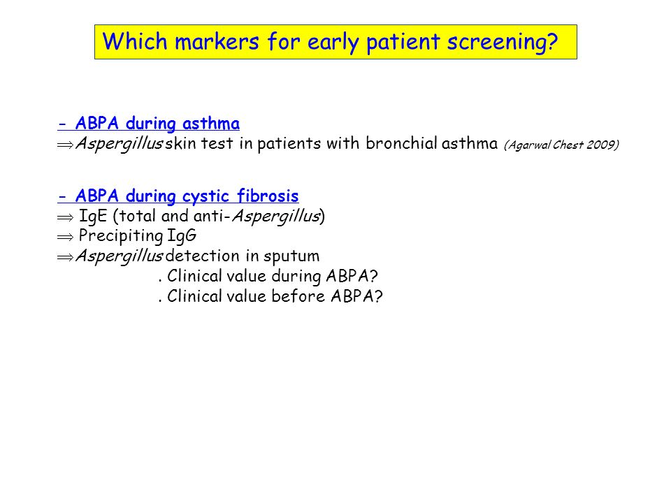 Which markers for early patient screening.