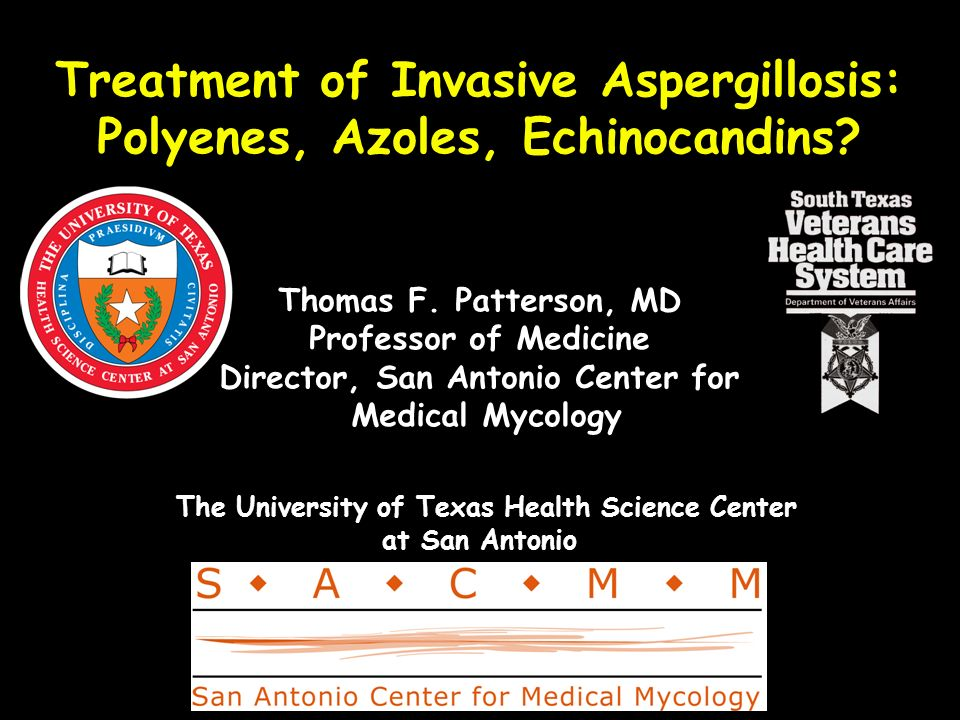 Treatment of Invasive Aspergillosis: Polyenes, Azoles, Echinocandins? Thomas F. Patterson, MD Professor of Medicine Director, San Antonio Center for M