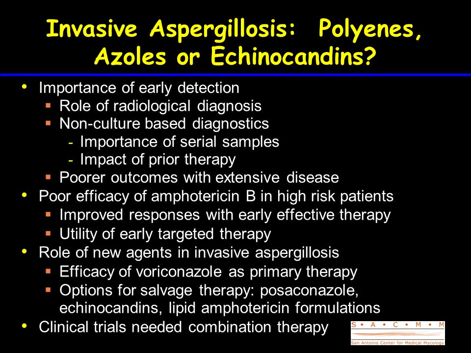 Invasive Aspergillosis: Polyenes, Azoles or Echinocandins? Importance of early detection Role of radiological diagnosis Non-culture based diagnostics
