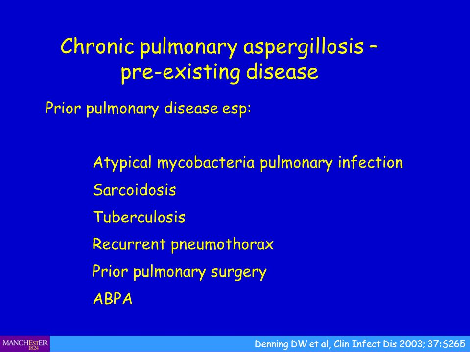 Chronic pulmonary aspergillosis – pre-existing disease Prior pulmonary disease esp: Atypical mycobacteria pulmonary infection Sarcoidosis Tuberculosis