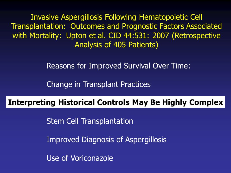 Invasive Aspergillosis Following Hematopoietic Cell Transplantation: Outcomes and Prognostic Factors Associated with Mortality: Upton et al. CID 44:53