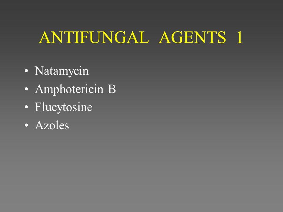 ANTIFUNGAL AGENTS 1 Natamycin Amphotericin B Flucytosine Azoles
