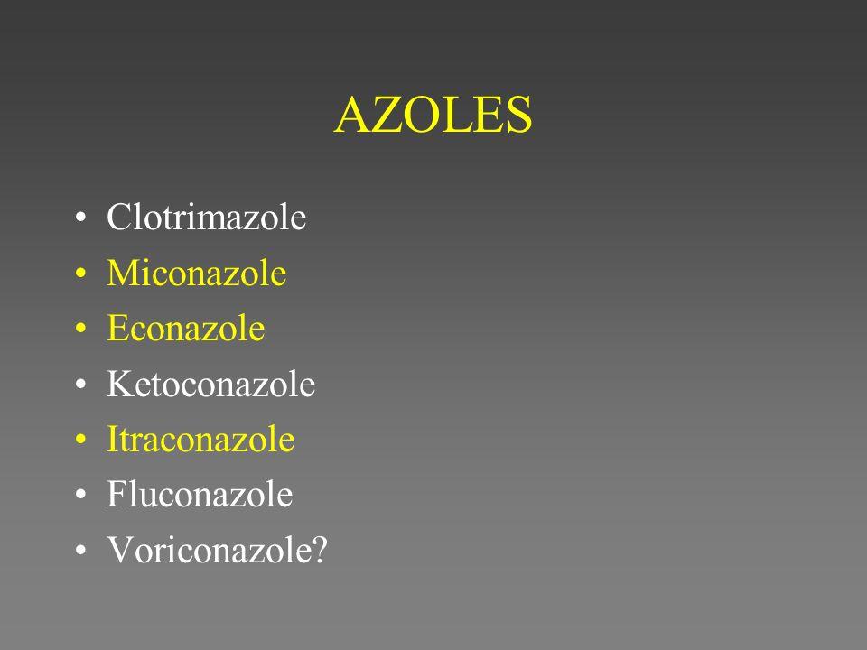 AZOLES Clotrimazole Miconazole Econazole Ketoconazole Itraconazole Fluconazole Voriconazole