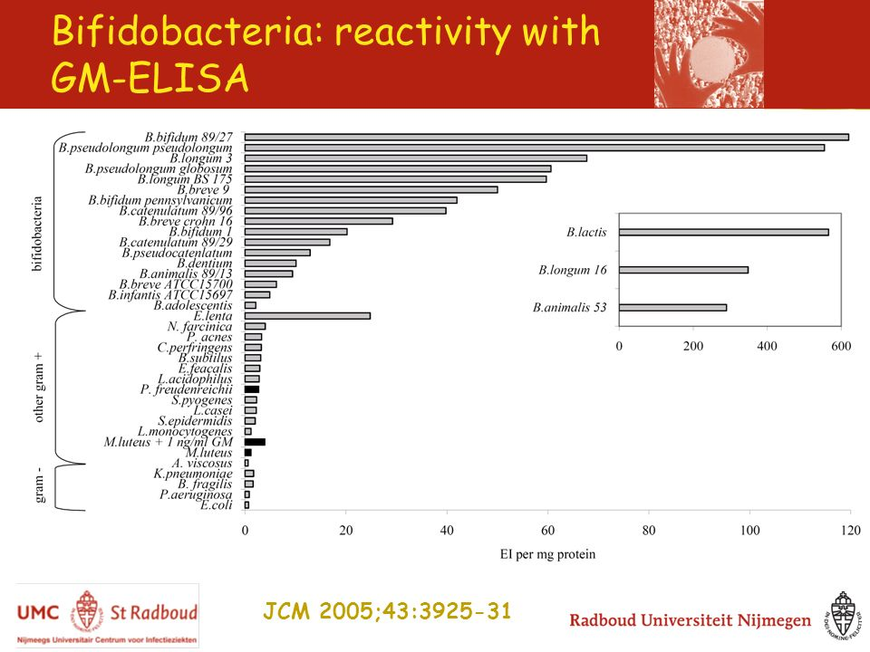 Bifidobacteria: reactivity with GM-ELISA JCM 2005;43:3925-31