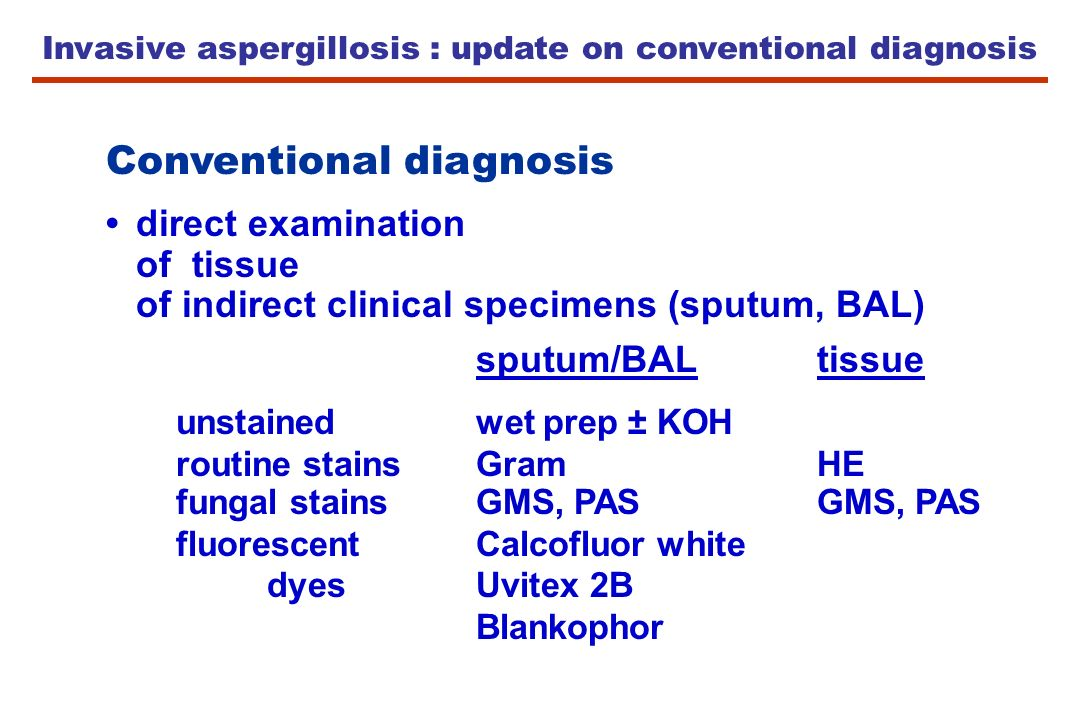 Invasive aspergillosis : update on conventional diagnosis Conventional diagnosis direct examination of tissue of indirect clinical specimens (sputum,